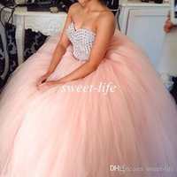 ingrosso perline di base-2019 Abiti da ballo economici Abiti Quinceanera Blush Pink Tulle Sweetheart Beads Sweep Train Custom Made Sweet 16 Abiti da ballo per Quinceanera