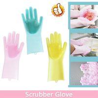 teller m großhandel-Silikon Dish Scrubber Handschuh Abstauben Geschirrspülen Handschuhe Pet Care Grooming für Küche Haushaltsgeräte OOA5707