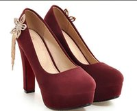 Wholesale send code for sale - Group buy Free send Hot New style Spring and autumn High heel shoes water drill Coarse heel Single shoes big code women shoes