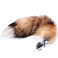 kedi kuyruğu anal plug toptan satış-Taklit tilki kuyruğu kedi kuyruğu köpek kuyruğu spiral anal plug paslanmaz çelik popo fiş Cosplay anal seks oyuncakları metal popo fiş