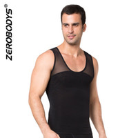 Wholesale shapewear clothing online - Men Top Clothes Hot Shapers Body Shapewear Zipper Double Stretch Mesh Slimming Corset For Men Waist Trainers Vest