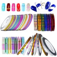 Wholesale Glitter Adhesive Tape - 1set 10pcs Color Glitter Scrub Nail Striping Line Tape Sticker Self -Adhesive Decal Nail Art Diy Tips For Polish Gel Manicure