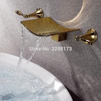 duvar muslukları banyo toptan satış-Yüksek Kalite Altın Finish Şelale Musluk Küvet Bataryası Duvara Montaj 3 Delik Banyo Mikser Dokunun Torneiras Banho Su Vanası Banyo Bataryası
