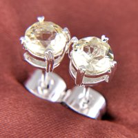 kristal küpeler avustralya toptan satış-5 Pairs 1 grup Luckyshine Yeni Yuvarlak Topaz Kristal 925 Ayar Gümüş Kaplama Rusya Amerikan Avustralya Düğün Saplama Küpe