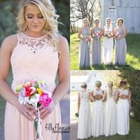 vestido de maternidad rosa gris al por mayor-Nuevo estilo de país vestidos de dama de honor gris azul rosa de marfil de encaje superior de cintura alta de gasa largo verano vestidos de playa BM0150