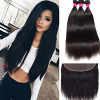 Wholesale 7a human hair closure for sale - Group buy Brazilian Hair Straight Body Wave Loose Wave Bundles With X4 Lace Closure A Unprocessed Peruvian Malaysian Brazilian Virgin Human Hair