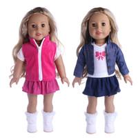 18 amerikan kız bebek aksesuarları toptan satış-Yeni Giysi Elbise Kıyafetler Pijama için 18 inç Amerikan Kız Bebek Kovboy Suit Bizim Nesil Aksesuarları Toptan