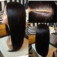 Wholesale full silk scalp human hair wig for sale - Group buy Silk Base Wigs Natural Scalp x5 Silk Top Full Lace Wigs Density Silky Straight Virgin Human Hair Baby Hair Around Hand