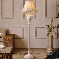 lâmpadas de assoalho modernas venda por atacado-Resina estilo Europeu abajur de tecido lâmpadas de assoalho modernas para sala de estar E27 110 V-220 V tecido iluminação europeia lâmpada de assoalho