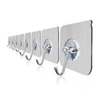 metal autoadhesivo al por mayor-Transparente fuerte autoadhesivo puerta perchas de pared toalla fregona bolso ganchos para colgar cocina accesorios de baño 0354