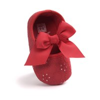 ingrosso scarpe da bambino semplici-Lace White Bowknot Baby Girl Pink Lace Shoes Toddler Prewalker Antiscivolo First Walker Simple Baby Shoes Bambino primi camminatori