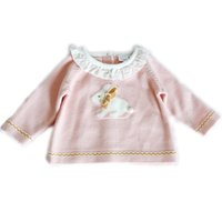 Wholesale baby girl tee pattern resale online - Little Girls T shirt Adorable Bunny d Pattern Printed Ruffles Collar Tops tee Baby Girls Autumn Knitted Shirts Kid Sweater