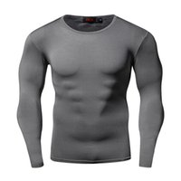 Wholesale long sleeves compression shirt for sale - Group buy Fashion Slim Quick Dry Compression Shirt Long Sleeves T Shirt Plus Size Fitness Clothing Solid Colorquick Dry Bodybuild Crossfit