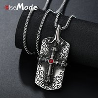 прямоугольник из нержавеющей стали ожерелье оптовых-ELSEMODE Antique Rectangle Jesus Cross Pendant Necklaces Stainless Steel Rhinstone Supernatural Necklace Men Jewelry Amulet