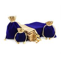 kleine samt-tunnelzugtaschen großhandel-Velvet Jewelry Kordel Tasche Tasche Stoff Schmuck Kosmetische Geschenkverpackung Mehrzweck Kleine Taschen Größe Wahl Custom LogoFree Versand