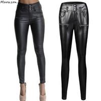 новый женский pu кожа тонкий оптовых-Женская мода тонкий тонкий PU кожаный карандаш брюки для женщин Новый плюс размер черный высокой талией тощий Bodycon брюки XXXL