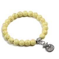 cruces de piedra hechas a mano al por mayor-8 MM amarillo turquesa perlas pulseras de piedra Hecha a mano del encanto de la cruz colgante pulsera elástica con cuentas Femme Pulsera Hombres