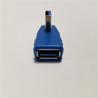 adaptador usb em ângulo reto venda por atacado-USB 3.0 Tipo A 90 Graus Ângulo Direito Macho para Fêmea Adaptador Conversor Hub USB Azul