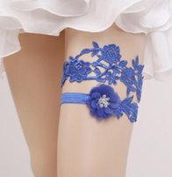 mavi gelin jartiyer setleri toptan satış-2 Parça Set Mavi Dantel Gelin Bacak Garters Balo Jartiyer Gelin Düğün Jartiyer Kemer Sahte Inciler Ücretsiz Boyutu 16-23 inç