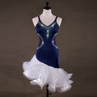 Wholesale latin dance competition dress black - New Latin Dance Dress Rumba Tang Chacha Ballroom Blue Group Competition Black Group Rhinestones Dance Dress 1804