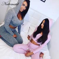 ingrosso manica piena rosa di tuta-NATTEMAID donne a maglia tuta con cappuccio Tute completa CropTop manica stretta Equipaggiata Bodycon tuta rosa pagliaccetti maglia Body
