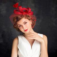Wholesale red fascinator hats - Hepburn lace, linen bride's hat, headgear, red mesh, yarn, feather, hat, wedding accessories, wedding accessories