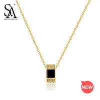 9k gold großhandel-Silber AGELESS 9K Gold Runde Anhänger Halskette Edelstein Chokerhalsketten Real Gold Anhänger mit Silberkette