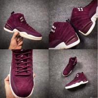 Wholesale air fibre - Top Quality Bordeaux air 12 Purple Suede Men Basketball Shoes Carbon Fibre Size eur 41-47 Free Shipping With Box