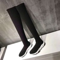 Wholesale long boots brand - Wholesale Luxury Brand Long Socks Shoes For Girls lady Speed Trainer High texture Women Casual Shoes Lightweight Boots Sport Sneakers
