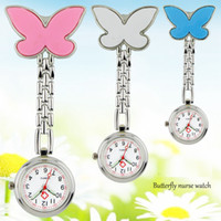 Wholesale nursing medical watch clip for sale - Group buy Lovely butterfly design shape unisex women ladies nurse pocket watches doctor medical hang clip hang quartz watches