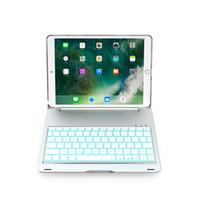 ingrosso supporto di tastiera in alluminio-Custodia per tastiera Bluetooth senza fili per iPad Pro 10.5 pollici LED 7 colori retroilluminato in lega di alluminio posteriore copertura del basamento duro