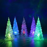 kristal ağaç dekor toptan satış-MINI Noel Ağacı Led Işıkları Kristal Temizle Renkli Noel Ağaçları Gece Işığı Yeni Yıl Partisi Decora Flaş Yatak Lambası Süsleme Kulübü Satış Cosplay