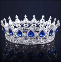 ingrosso blu corona tiaras-2018 Cristalli di lusso Wedding Crown lega Tiara nuziale Baroque Queen King Crown Clear Royal Blue Red strass Tiara nuziale corona