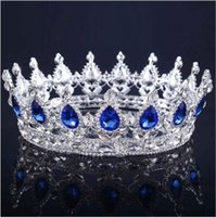 Wholesale wedding hair royal crown online - 2018 Luxury Crystals Wedding Crown Alloy Bridal Tiara Baroque Queen King Crown Clear Royal Blue Red Rhinestone Bridal Tiara Crown
