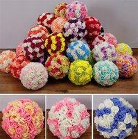 piyasa topu toptan satış-Yeni 15/17/20 CM Düğün ipek Pomander Öpüşme Topu çiçek topu süslemeleri çiçek yapay çiçek düğün bahçe pazarı için dekorasyon I090