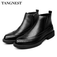 ayak bileği ayakkabıları erkekler için toptan satış-Tangnest YENI Kış erkek Ayak Bileği Çizmeler Vintage Cut-out Brogue Ayakkabı Adam Inek Split Deri Motosiklet Çizmeler Kürk Platformu