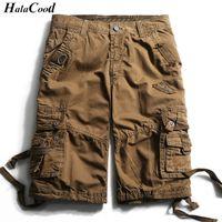 pantalones cortos de carga para hombre de moda al por mayor-Halacood Fashion Sexy Quality New Summer Calf - Longitud de carga para hombre Pantalones cortos de algodón Multi - Bolsillo Sólido Hombre Puls tamaño Beach Shorts Fat