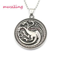 Wholesale chinese dragon pendant wholesale - Pendants Necklace Chain Stainless Steel Lion Dragon Casting Hang Tags Chinese Mascot Totem Charms Healing Chakra Amulet Fashion Mens Jewelry