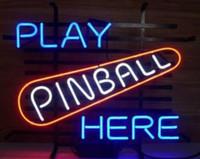 panneau de flipper néon achat en gros de-JOUER PINBALL ICI Néon Signe Réel Verre Tube Bar Pub Store Business Publicité Décoration de La Maison Art Cadeau Affichage Métal Taille de Cadre 17''X14 ''