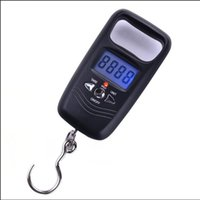 Wholesale lcd luggage scale - Portable 50kg 10g Mini LCD Digital Display Fish Hanging Luggage Weight Electronic With Hook Scale AAA732
