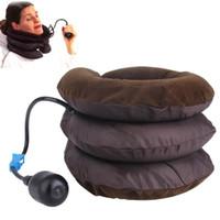 boyun desteği masajı toptan satış-Sağlık Hava Servikal Boyun Çekiş Yumuşak Brace Cihaz Desteği Servikal Traksiyon Geri Omuz Ağrı kesici Masaj Gevşeme
