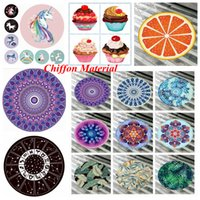 Wholesale child cream summer resale online - Unicorn Mandala Beach Towel Styles Chiffon Ice Cream Fruit Pizza Printed Thin Round Picnic Summer Swimming Bath Towels OOA5127