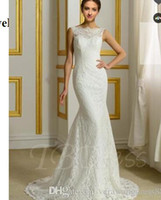 Wholesale high neckline feather wedding dress for sale - Backless Jewel Neckline Court Trumpet Mermaid Lace Wedding Dress