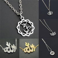 gold om pendants Canada - 1pc Silver Gold OM Charms Metal Yoga Pendant Necklace Diy Handmade Jewelry For Women
