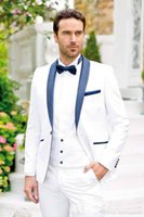 Wholesale trendy shawls - Trendy Design One Button White Groom Tuxedos Groomsmen Shawl Lapel Best Man Suits Mens Wedding Suits (Jacket+Pants+Vest+Tie) NO:676