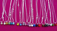 shamballa disco ball anhänger großhandel-ganze sale10mm mischte weiße Großhandel Disco-Kugel Silber überzogene Kristall-Shamballa-Halsketten-Anhängermehrfarbenschlangenkette Rhinestones