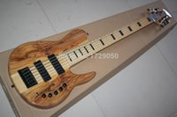 Wholesale fodera basses resale online - 2015 Chinese Factory Custom Natural Wood One Piece Neck Through active Pickups Fodera Butterfly Strings Electric Bass Guitar