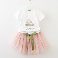 Wholesale tutu skirt set pink online - baby summer clothes girls watermelon tops bow lace skirt clothing set girl s outfits children suit kids summer boutique clothes