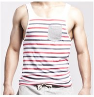 Wholesale Body Building Tanks - SEOBEAN Body-Building Vest Striped Cotton Mens Tank Tops Crew Neck Mens Tops