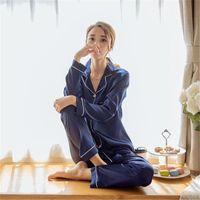 Wholesale woman elegant pajamas - Spring Women Casual Pajamas Sets Elegant 2 Piece Set Fashion Sleepwear Faux Silk Long Sleeve Solid Color Women Soft Sleep Wear Sets Clothing